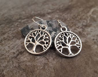 Tree of Life Earrings, Silver Tree Earrings, Tree Jewelry, Everyday Earrings, jingsbeadingworld inspired by nature, Gift for her