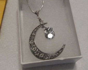 Moon With Owl Necklace