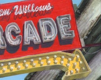 Limited Edition Fine Art Print, Arcade Sign, Giclee Print of a Neon Sign from an Original Painting by Debbie Shirley