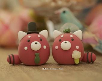 red panda  wedding cake topper