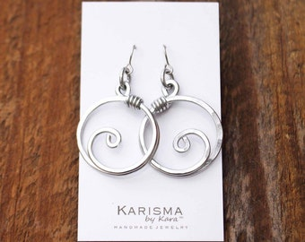 Silver. Aluminum. Large. Circle. Spiral. Earrings.