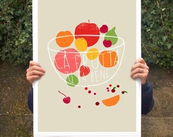 "Fruit Kitchen Poster print La Frutta  20""x27"" - archival fine art giclée print"