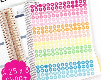 LS240 Summer Variety 1 Mini Round Icon Stickers.  Perfect for the Erin Condren Life Planner!!!