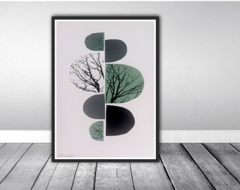 Geometric mid century A4 screen print. Limited edition print. Signed and numbered.