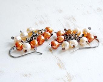Pearl Cluster Earrings, Handmade Copper Jewelry, Freshwater Pearl Earrings, Peach Earrings, Pearl Dangle Earring, Romantic Jewellery