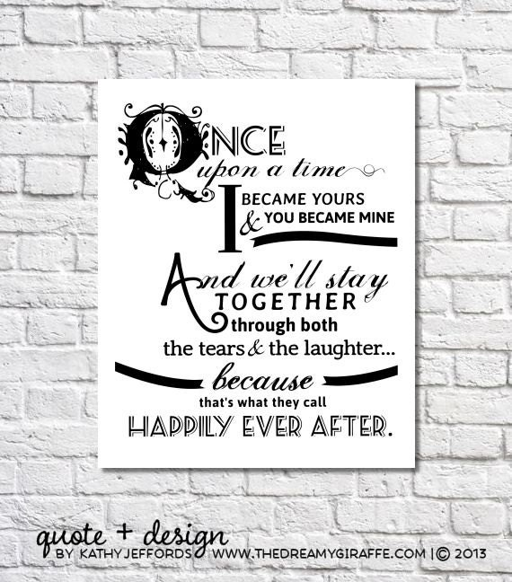 Wedding Quotes For Newlyweds: Happily Ever After Quote Print For Newlyweds Just Married