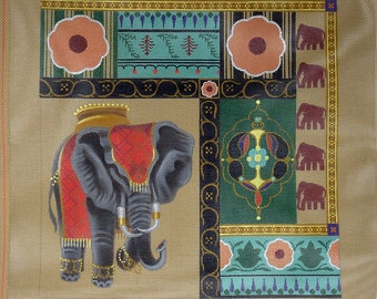 Elephant Walk: Leigh Designs hand painted needlepoint canvas