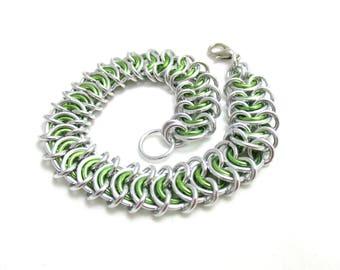 Lime Green Vertebrae Chainmaille Bracelet - Lime Green Chain Maille Bracelet - Chain Bracelet - Wide Bracelet