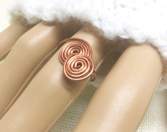 Copper ring, size 6, interlocked spirals