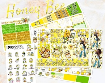 NewRELEASE Honey Bee set kit weekly stickers - for Erin Condren HORIZONTAL Planner - sunflowers summer floral flowers girls fashion