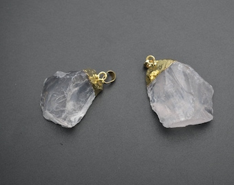 1oc Natural Clear Rough Rock Crystal Quartz Stone Nugget Pendant Gold plating jewelry