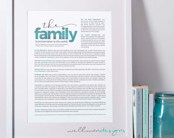 11x14 Family Proclamation to the World, LDS Art, Instant Download, 12 color options
