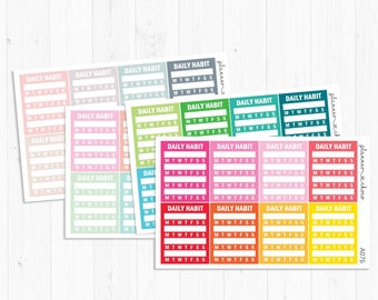 Habit Tracker Sidebar stickers/label/planner stickers /ECLP/erincondren life planner/multicolor functional/rainbow/pastel/neutral