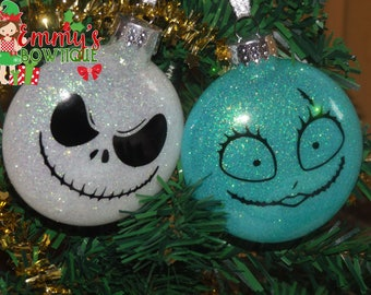 Nightmare Before Chirstmas Glass Ornament, Glitter Ornament, Jack Skellington Glitter Ornament Sally Glitter Ornament, Gift Ornament