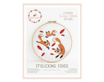 Counted Cross Stitch Pattern - Frolicking Foxes / cross stitch, diy, how-to, embroidery, pattern, gift, supply, instruction, baby, nursery
