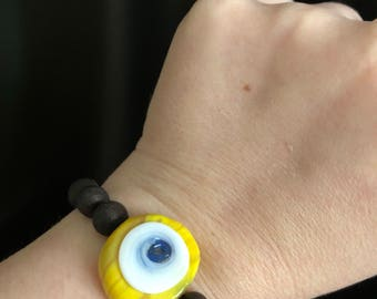 Yellow evil eye beaded bracelet