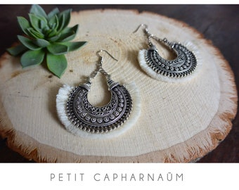 Earrings half moon Bohemian - ethnic/tribal pattern - fringe