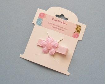 Gingham Daisy Applique Hair Clip - Light Pink