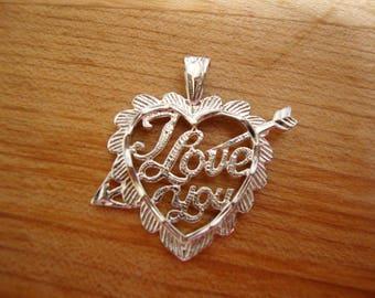 Ich liebe dich Herz - Sterling Silberanhänger und Kette - Halskette - ein Zoll Durchmesser
