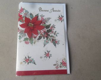 """x 1 greeting card 3D """"Happy new year"""" white pattern with its rhinestone flower envelope 17,5 x 11,5 cm"""
