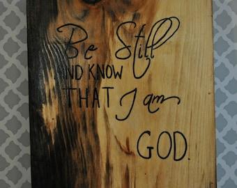 Be Still Christian Sign/Christian Decor/Scripture/Bible Verse/Wood Sign/Rustic
