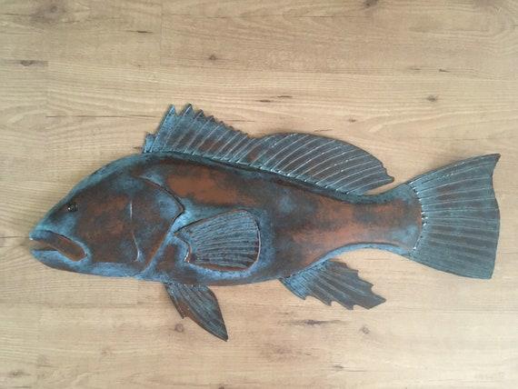 Black Sea Bass  30in Wall Sculpture     Coastal  Cottage Cabin Art Fish