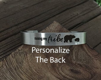 Raising My Tribe Cuff Bracelet Stainless Steel Bracelet Raising My Tribe Cuff For Girlfriend Gift For Wife Gift Gift Birthday