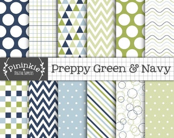 Preppy Digital Paper Pack, Green and Navy Digital Scrapbook Paper, Triangle Pattern, Digital Download, Commercial Use, Chevrons, Stripes