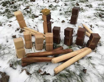 kubb game, outdoor game, blocks chess, wedding games, hardwood game set, kubb tournament set, kubb skittles game