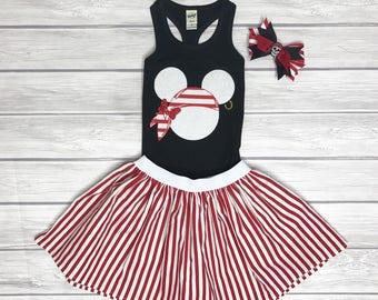 Pirate Minnie Shirt, Skirt, & Bow Set, Cruise Outfit, Girls' Outfit, Minnie Pirate Outfit, Disney Cruise