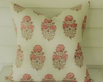 Mughal Flower Pillow Cover in Coral