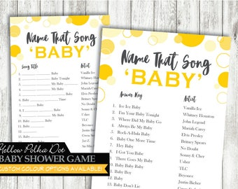 Name That Song 'Yellow Polka Dot' Theme *Printable Game Card* Baby Shower Game // Song Game // Yellow // Gender Neutral // INSTANT DOWNLOAD