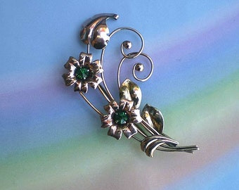 Vintage 40s Floral Gold Silver Rhinestone Pin