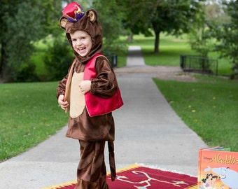 Aladdin Abu Costume, Monkey Costume, Boy or Girl Furry Suit, Circus Photo Prop, Play Washable Clothe, Child Disney, Hood Cap, Abu Fez Vest