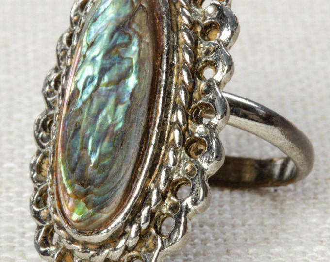 Mother of Pearl Oval Vintage Ring Silver Framed Adjustable Pearlized US Womens Size 5.5 7I