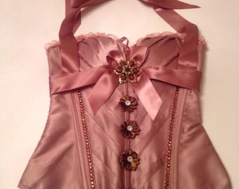 Brown Satin Over Bust Corset