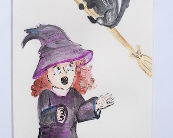 Witch lost her broomstick! matted watercolor