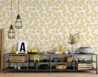 Self Adhesive Gold Leaves Removable Wallpaper | Peel and Stick Luxury Gold Color Structure Wall Decor Print | Temporary Wall Paper CC128