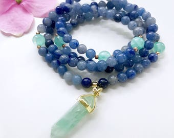 Aventurine Mala Necklace, 108 Mala Beads, Mala Necklace, Mala, Blue Aventurine Necklace, Meditation Beads, Mala Beads, Mala Prayer Beads