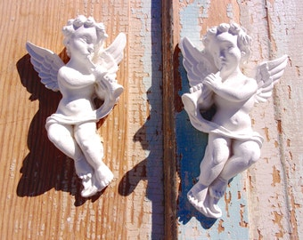 Shabby Chic Furniture Appliques * Cherubs / Pair * Over 120 NEW Designs for 2017  * 5.95 no LIMIT Shipping / USA