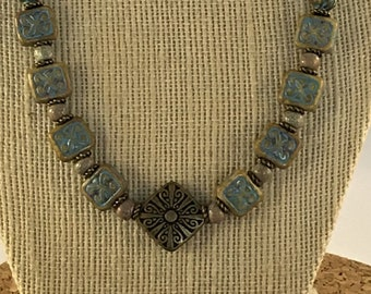Sand and Sky Czech glass blue and tan square beads with brass