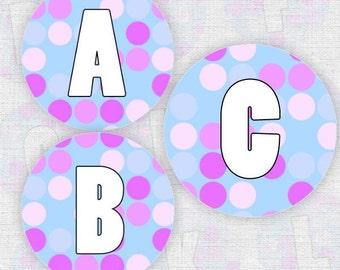 Purple Spots Alphabet - Bottlecap Images - Digital Collage Sheet - 4x6 - Bottle Cap Images - Instant Download
