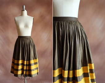 vintage 1950's brown & mustard striped cotton high waisted full skirt / size xs