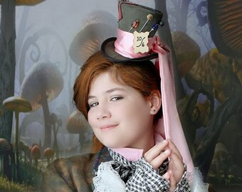 Mad Hatter MIni Top Hat, Alice in Wonderland Party Hat, Mad Hatter Hat , Tea Party Hat , Mini Top Hat Fascinator , Mini Hat Headband