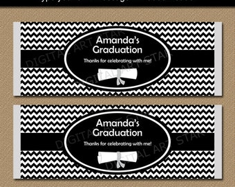 Graduation Candy Wrappers, Printable Graduation Candy Wraps, Black White College Graduation Party Favors, Print at Home Graduation Favors G3