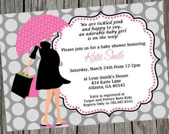 Baby Shower Invitation.  Umbrella Invitation.  Baby Shower Ideas. Pregnant Mom Invite. Digital Invite. Baby Shower Invite. Modern Mom Invite