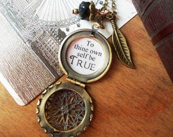 locket necklace to thine own self be true Shakespeare quote jewelry inspirational pendant for women with motivational message gift friend