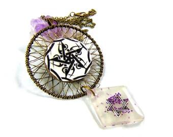 Necklace dream catcher pentagram seal of Solomon
