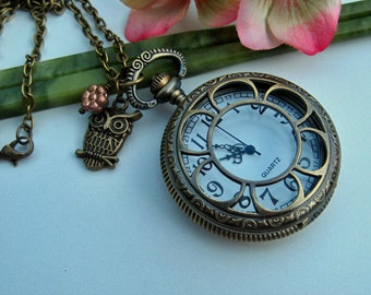 Antique Bronze Floral Pocket Watch Locket Pendant with optional Cute Owl Charm and Peach Czech Glass Flower Necklace