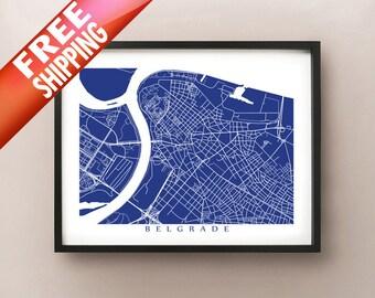 Belgrade Map - Serbia Poster